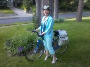 Barb in her Thursday bike-riding outfit.