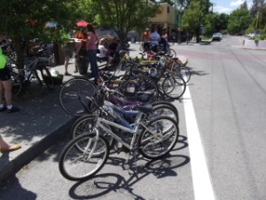 Bike racks at the Elk Restaurant, Browne's Addition, Spokane, WA