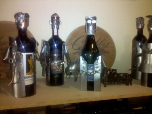 Metal wine bottle holders. Eclectic Gifts, Spokane, WA