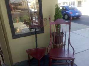 Red chair and red table. Outside Ronan's Door, Spokane, WA