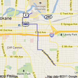 Map of a route from the Riverpoint Campus in Spokane to the South Hill
