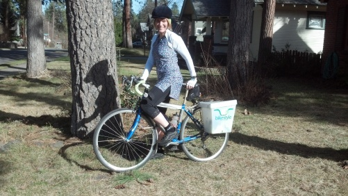 Barb Chamberlain on bike wearing Nuu-Muu, Sheila Moon knickers, Sheila Moon bolero