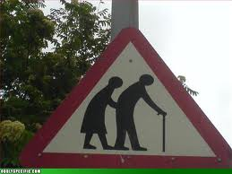 Traffic sign--older people with a cane