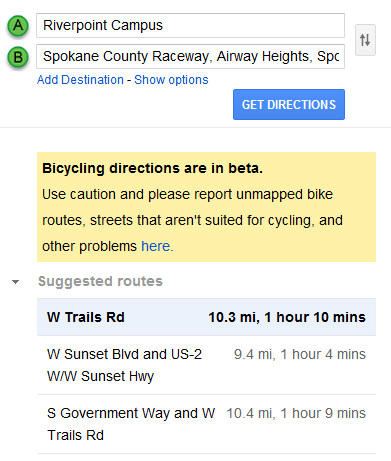 Google Maps results list for routes from Riverpoint Campus to Spokane County Raceway Park